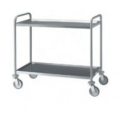 Chariot inox 2 plateaux 80 cm
