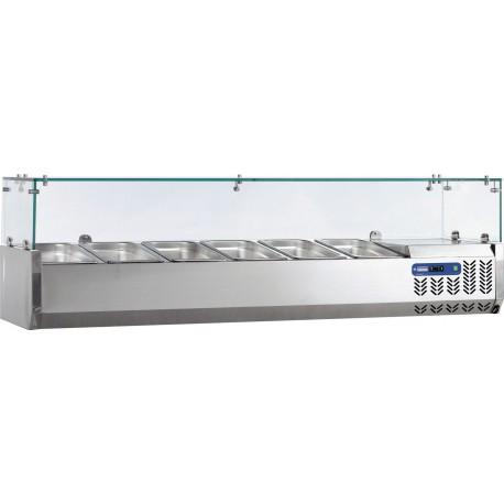 Vitrine Réfrigérée de 160 cm pour 7 bacs GN 1/4 - Diamond SX160/DV | SX160/DV-R6 - Diamond