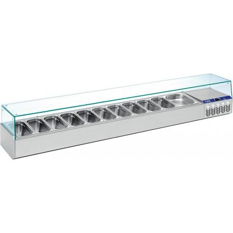 Vitrine Réfrigérée de 160 cm pour 7 bacs GN 1/4 - Diamond SX160G/PM | SX160G/PM - Diamond
