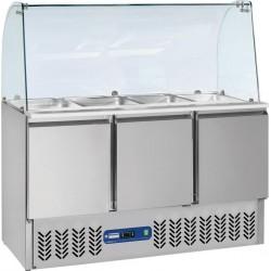 Saladette frigorifique 3 portes 380 litres + Vitre bombée