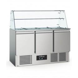 Saladette réfrigérée 3 portes + vitre