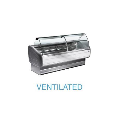 Vitrine réfrigérée 2m vitres bombées froid ventilé et réserves réfrigérées