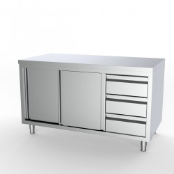 Placard bas inox avec portes coulissantes et bloc tiroirs à droite 160