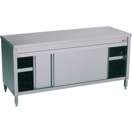 Table armoire inox professionnel avec portes coulissantes for Table armoire inox