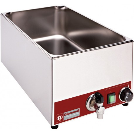 Bain-marie de table électrique GN 1/1 - 150 mm + robinet | BMZR/X - Diamond
