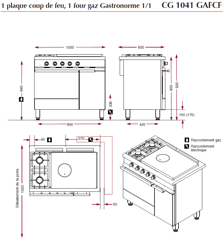 dimensions fourneau ambassade CG1051GACF