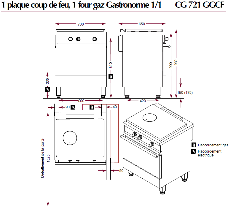dimensions du fourneau ambassade CG721GAGCF