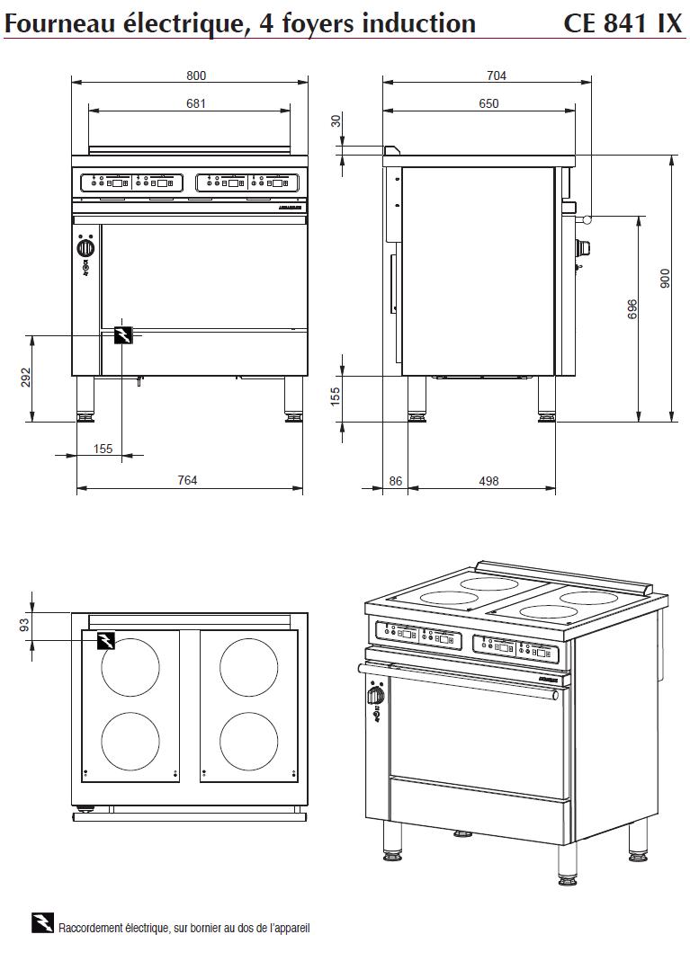 Dimensions du fourneau électrique CE 841 IX