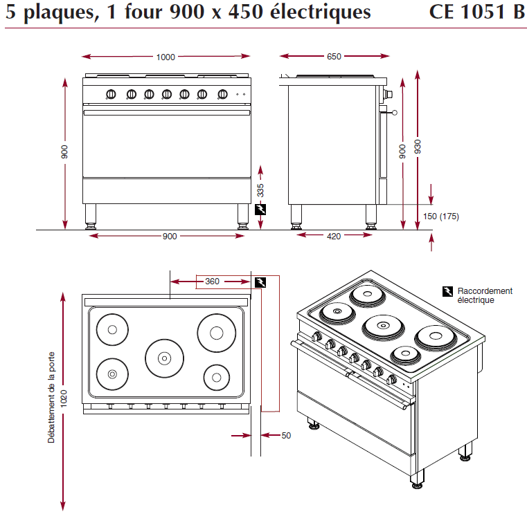 dimensions fourneau électrique ambassade CE1051B