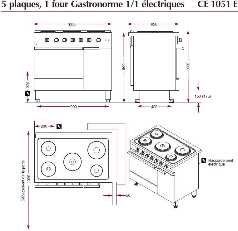 dimensions fourneau électrique ambassade CE1051E