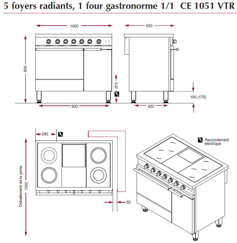 dimensions du fourneau ambassade CE1051VTR
