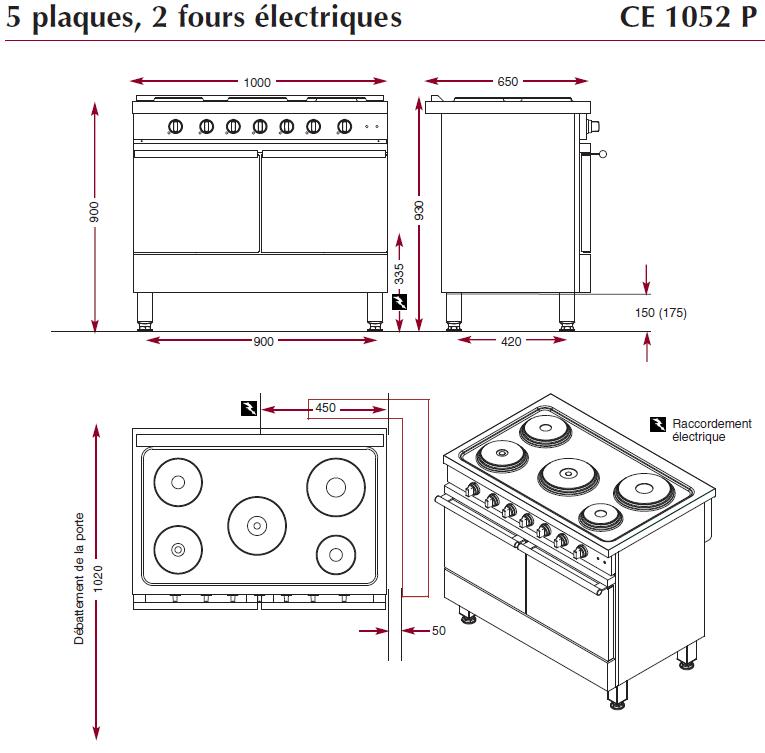 Dimensions du fourneau ambassade CE1052P
