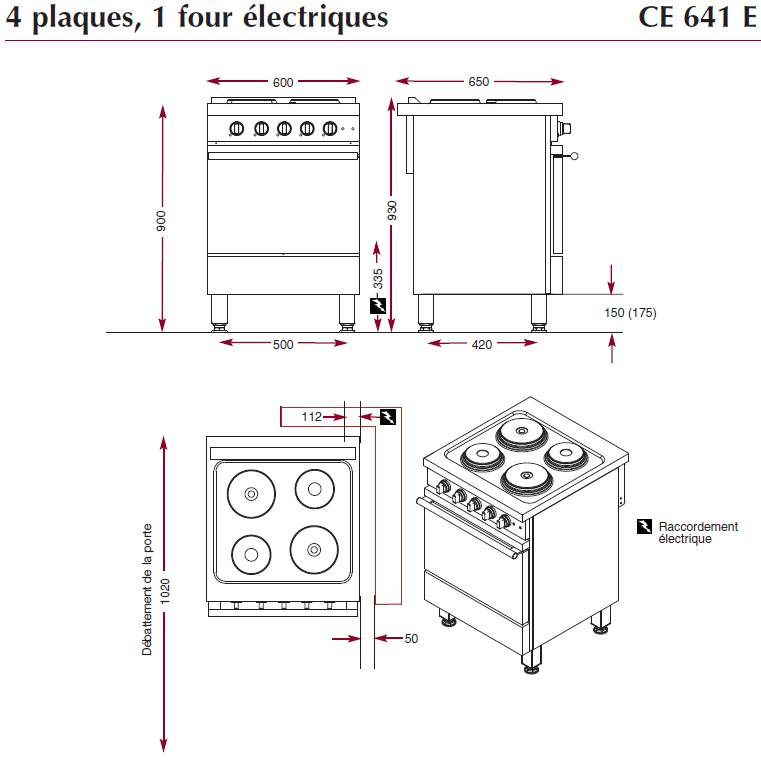 Dimensions du fourneau ambassade CE641E