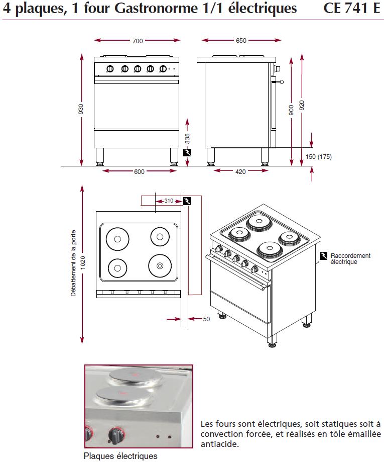 Dimensions du fourneau ambassade de bourgogne CE741E
