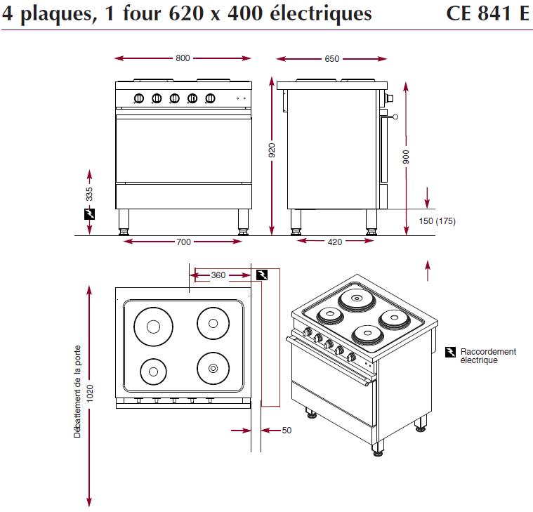 Dimensions du fourneau ambassade de bourgogne CE841E
