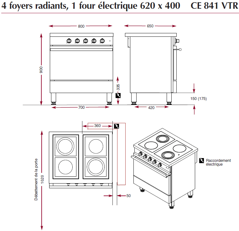 Dimensions du fourneau électrique ambassade de bourgogne CE841VTR
