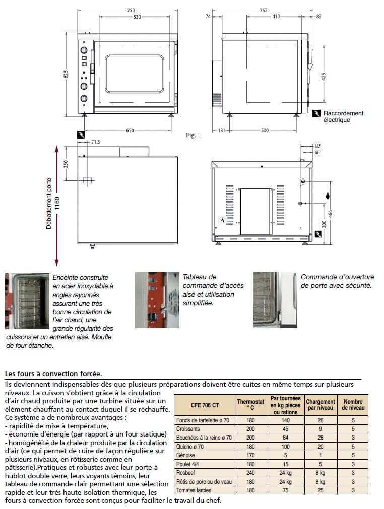 Dimensions et caractéristiques du four CFE 706 CT Ambassade