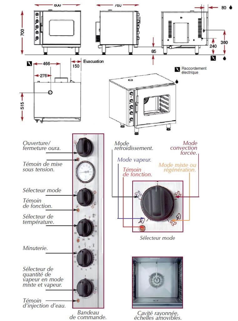 Dimensions du four mixte Ambassade CFE806CV
