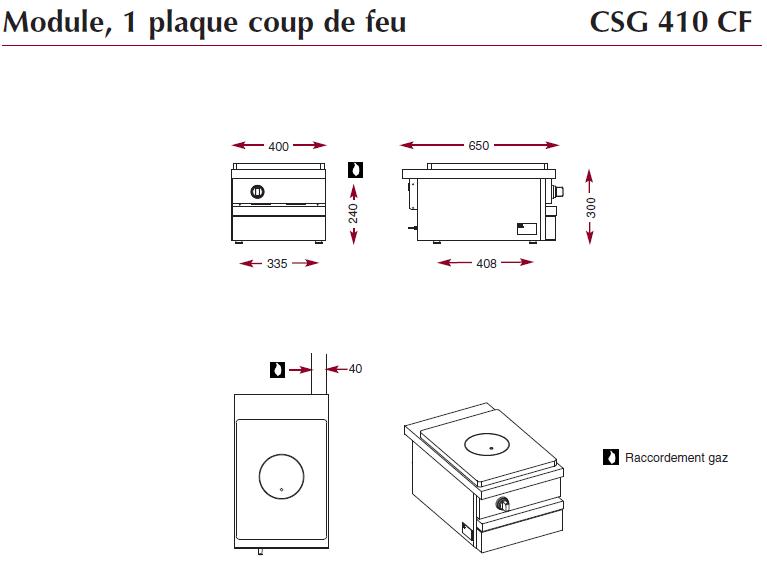 Dimensions du module gaz avec plaque coup de feu CSG410CF
