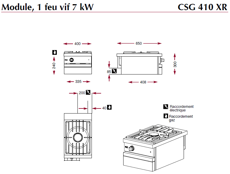 Dimensions du module foyer gaz CSG410XR