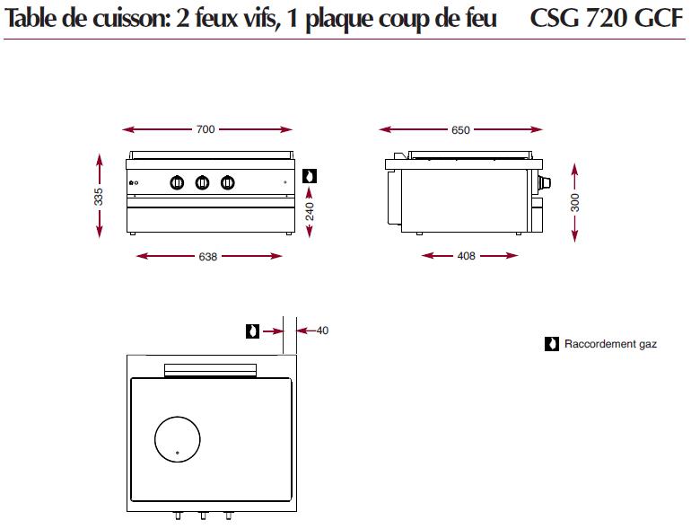 Dimensions du module Ambassade CSG720GCF