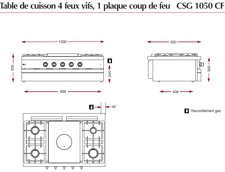 Table gaz sur 4 feux vifs et une plaque coup de feu CSG 1050 CF