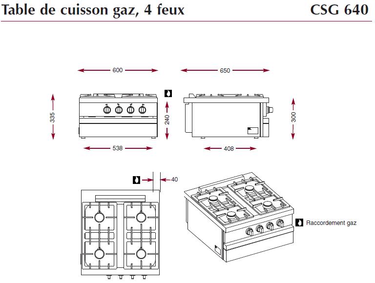 Table gaz 4 feux Ambassade CSG640