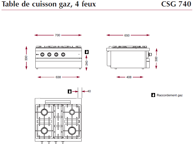 Dimensions table 4 feux CSG740