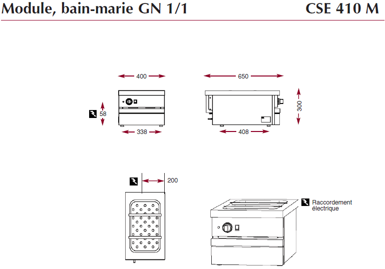 Dimensions du bain-marie ambassade de bourgogne CSE 410 M