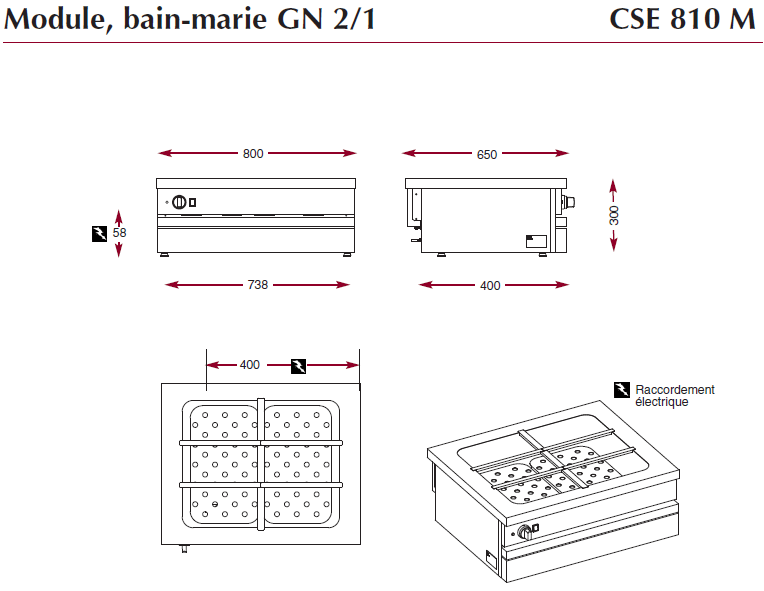 Dimensions du bain-marie CSE 810 M