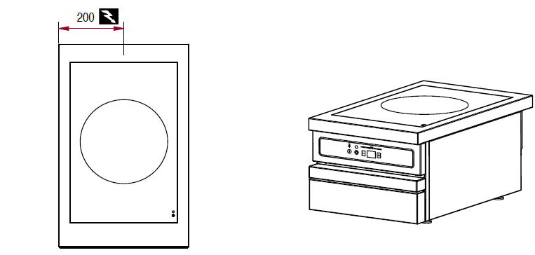 Dimensions du module table électrique ambassade CSE410IX