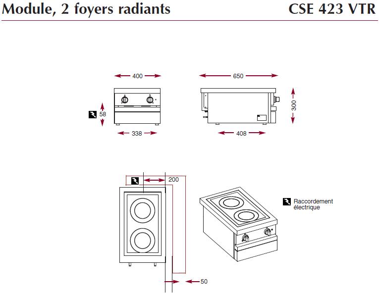 Dimensions de la table électrique Ambassade CSE423VTR