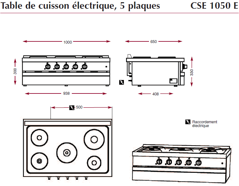 Dimensions de la table électrique Ambassade de bourgogne CSE1050E