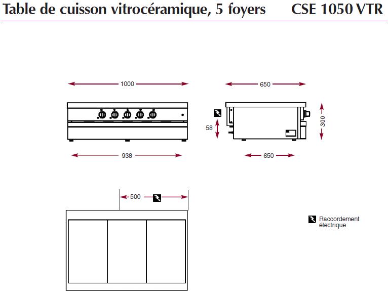 Dimensions de la table électrique ambassade de bourgogne CSE1050VTR