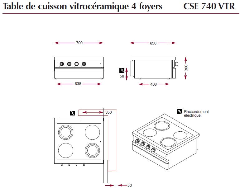 Dimensions de la table électrique ambassade de bourgogne CSE740VTR