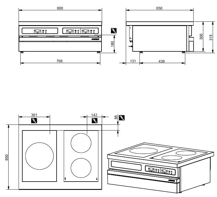 Dimensions de la table électrique ambassade CSE833IX