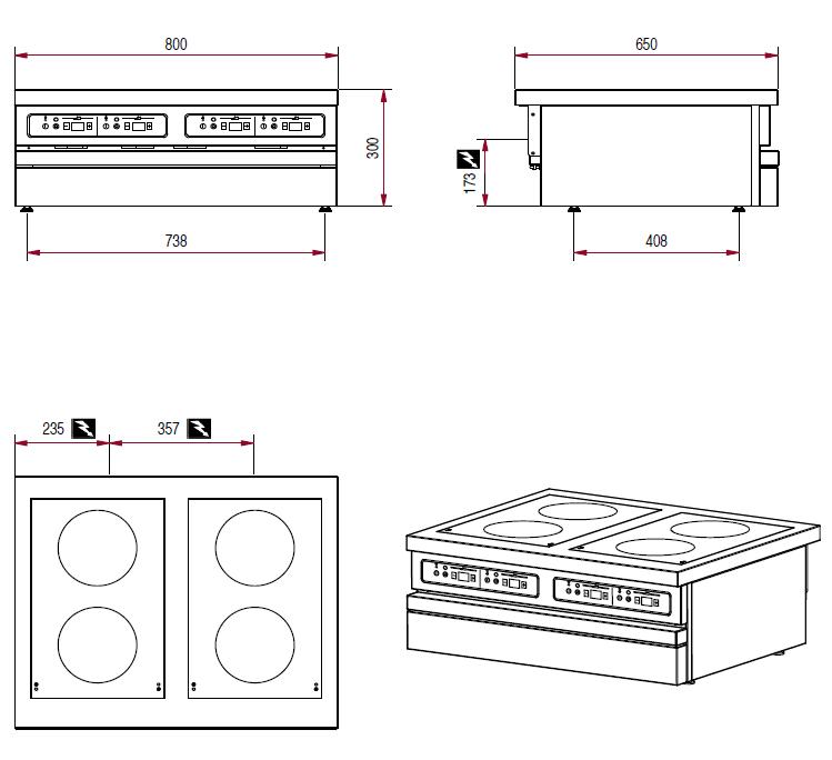 Dimensions de la table électrique Ambassade CSE843IX