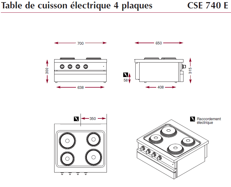 Dimensions de la table électrique CSE 740 E