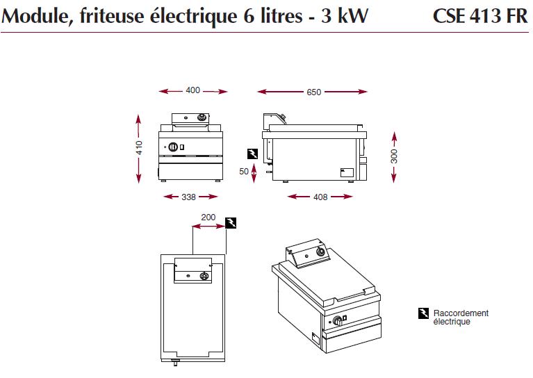 Dimensions de la friteuse électrique CSE413FR