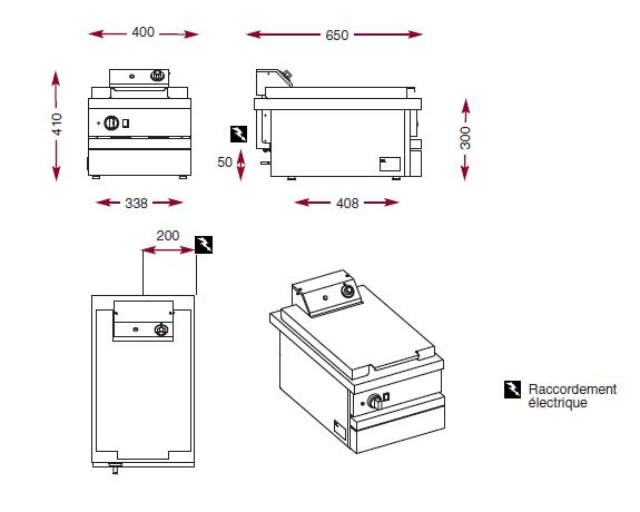 Dimensions de la friteuse ambassade CSE418FRI