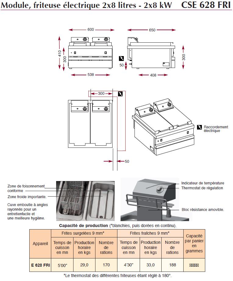 Dimensions du module friteuse électrique Ambassade CME628FRI
