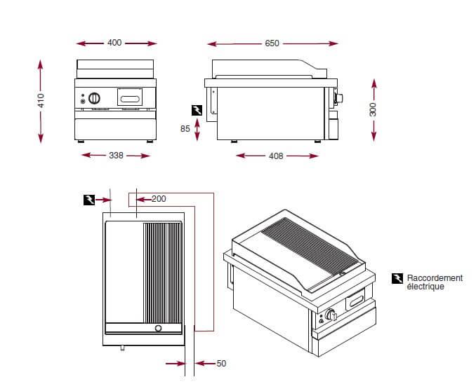 Dimensions du gril électrique Ambassade CSE410SLR
