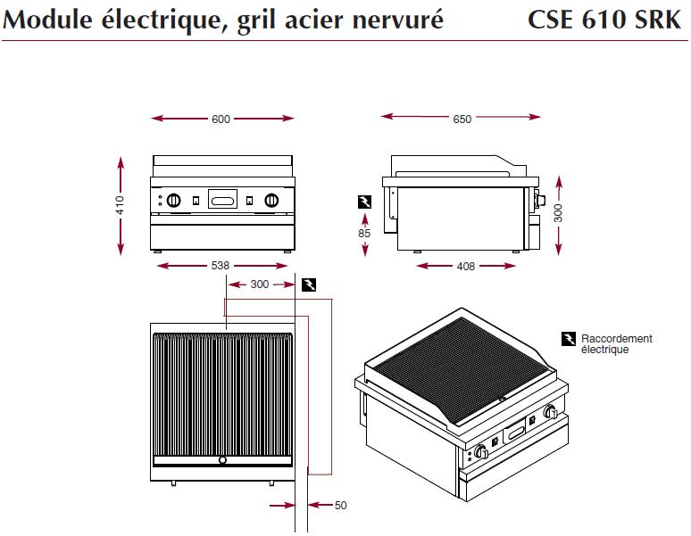 Dimensions du gril ambassade électrique CSE610SRK
