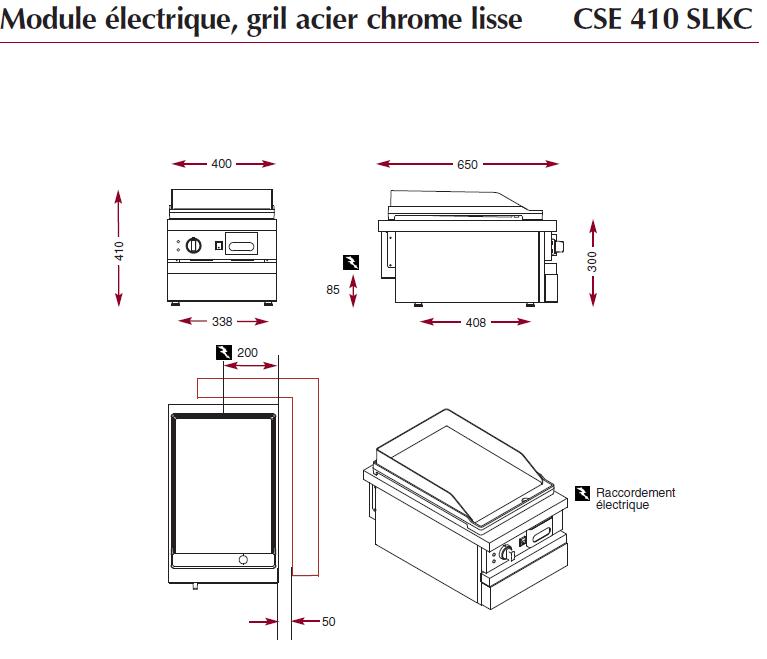 Dimensions du gril électrique chrome ambassade CSE410SLKC