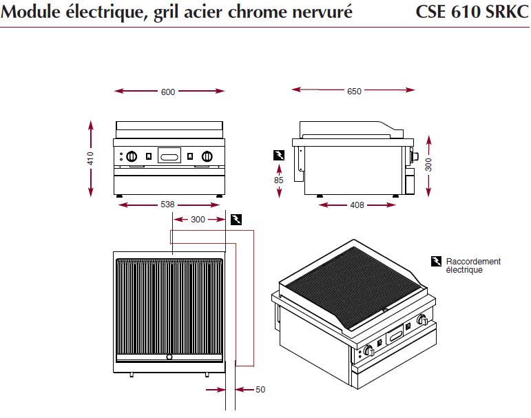 Dimensions du gril électrique ambassade chrome nervuré