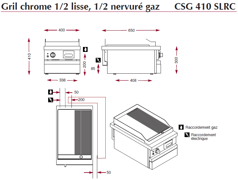 Dimensions du gril chrome ambassade CSG410SLRC