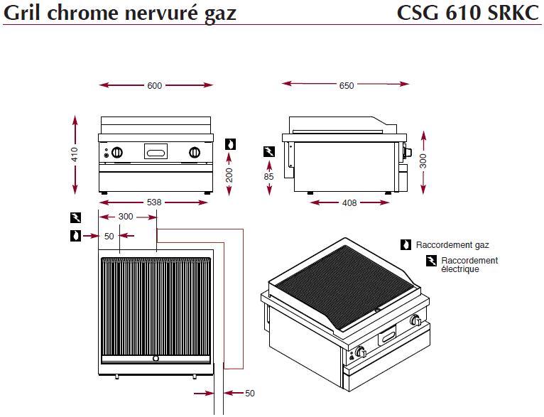 Dimensions du gril ambassade CSG610SRKC