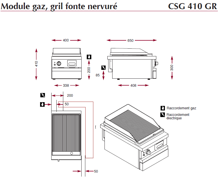 Dimensions du gril en fonte nervuré ambassade de bourgogne CSG 410 GR