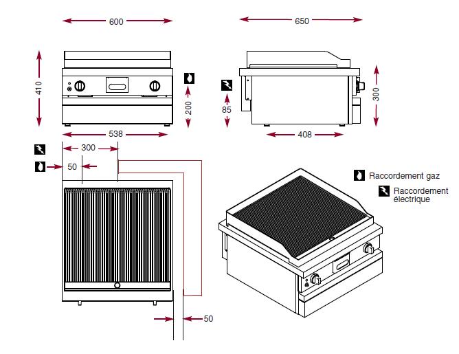 Dimensions du gril acier nervuré ambassade CSG610SRK