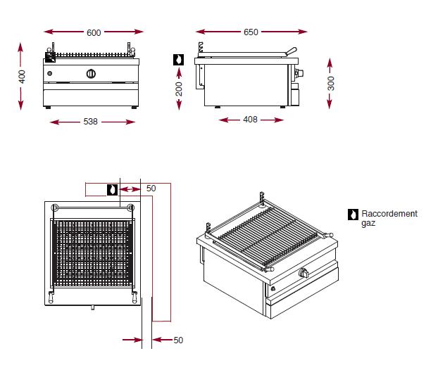 Dimensions du gril gaz à pierres de lave CSG 620 CKG